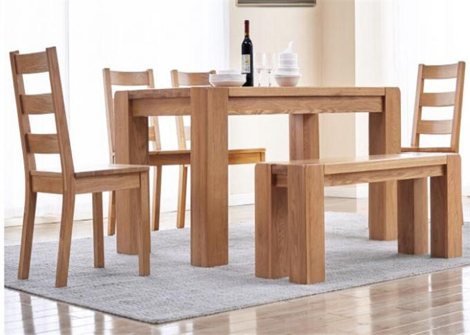Farmhouse  Natural Oak WoodHotel Dining Table With Benches Environment - Friendly